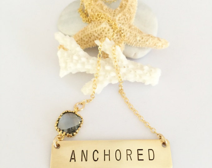 ANCHORED Stamped Gold Fill Bar Necklace Nameplate Bohemian Nautical Beach Layering Boho