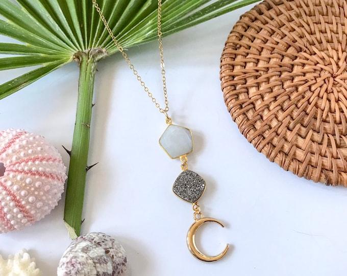 New! // Gold Moon Gemstone Trio Necklace