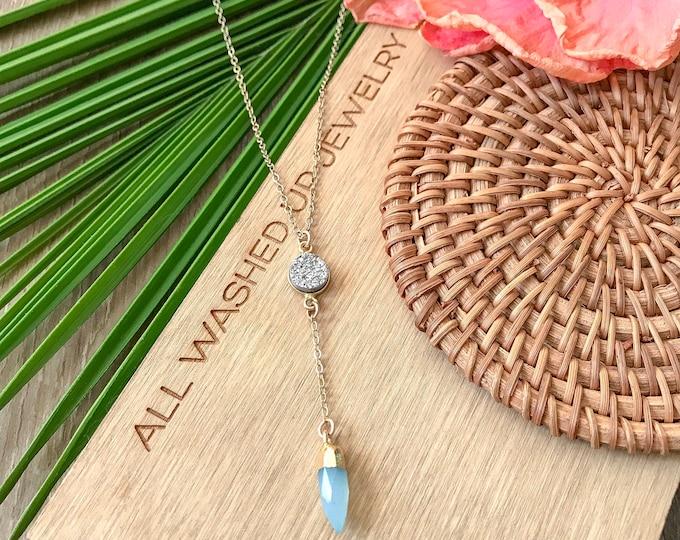 New! // Druzy & Chalcedony Lariat Necklace