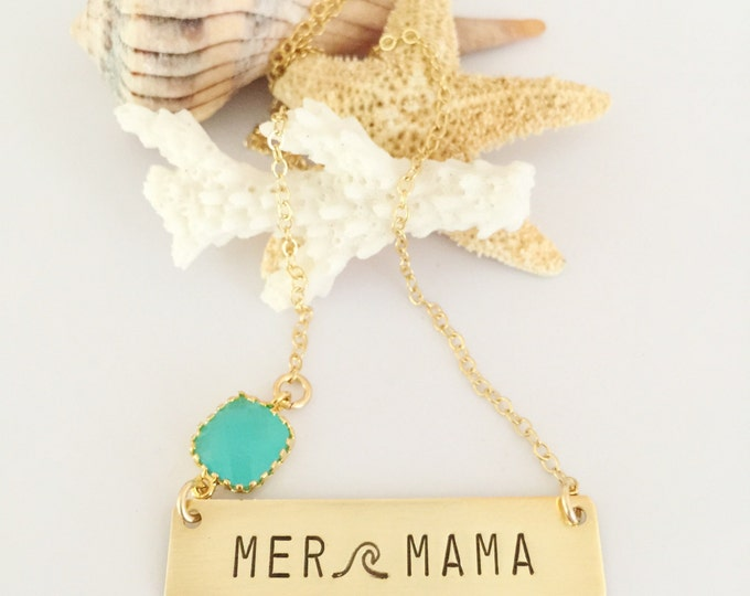 MerMama Gold Fill Bar Necklace Ocean Minded Mama Mom Momma Stamped Layering Boho Beach Bohemian Custom New Mom Name Coastal Gift Vitamin Sea