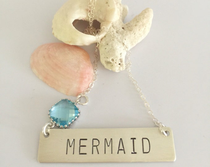 Mermaid Stamped Bar Name Plate Custom Layering Bohemian Boho Necklace Bridesmaids Gift Friend Wedding Beach Seaglass Mothers Day Graduation