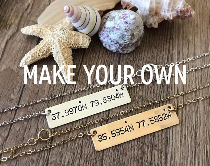 New! // Custom Coordinates Bar Necklace Sterling Silver Gold Fill