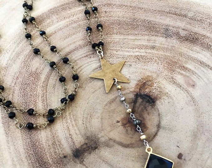 New! // Beaded Brass Star Lariat Necklace