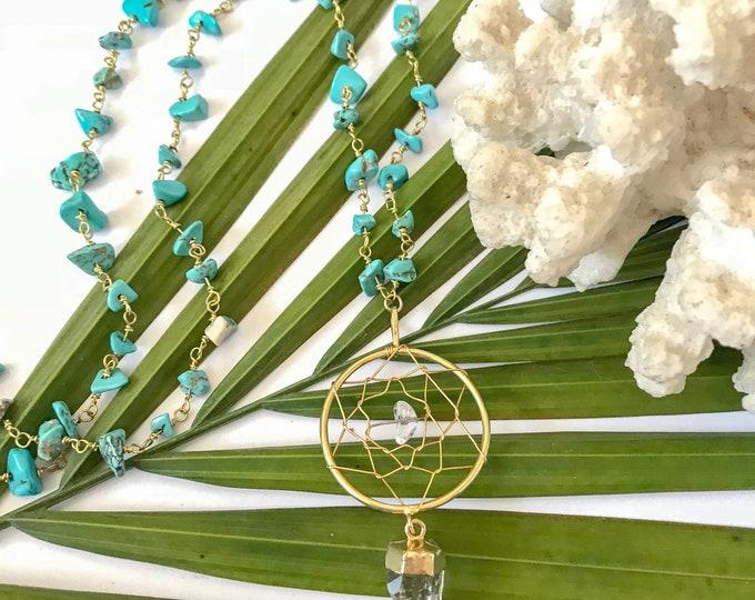 New! // Beaded Turquoise Quartz Dream Catcher Necklace