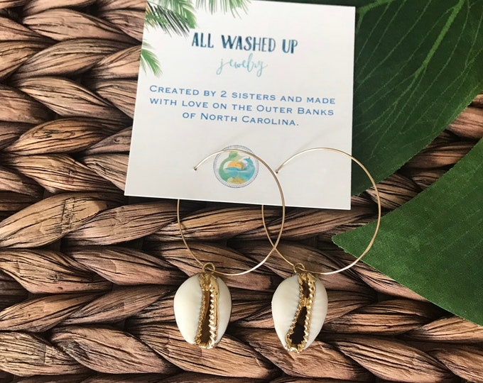New! // Cowrie Shell Hoop Earrings
