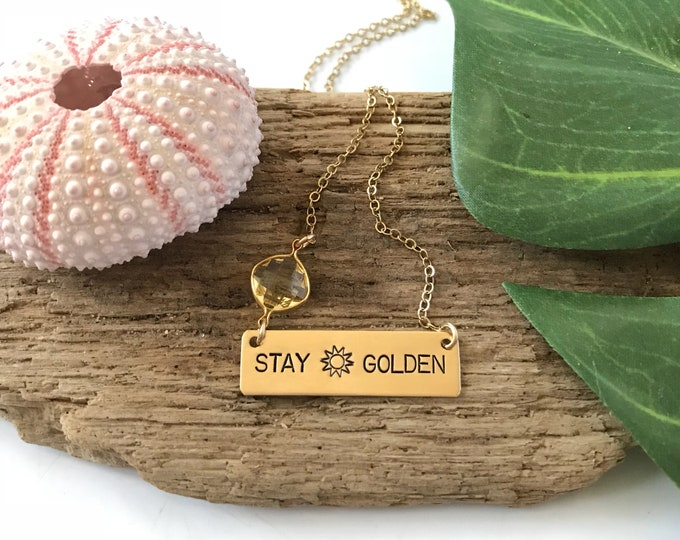 Stay Golden Bar Necklace Brass Stamped Sunshine Sunkissed Sundazed Sunchild Boho  Personalized Nameplate Layering Necklace Bohemian Custom