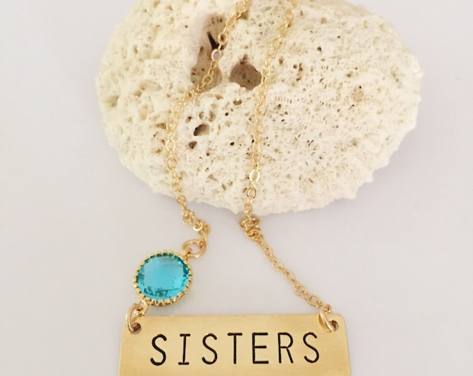SISTERS Stamped Gold Fill Bar Necklace Boho Gift Love Family Custom Personalized Layering Outer Banks All Washed Up