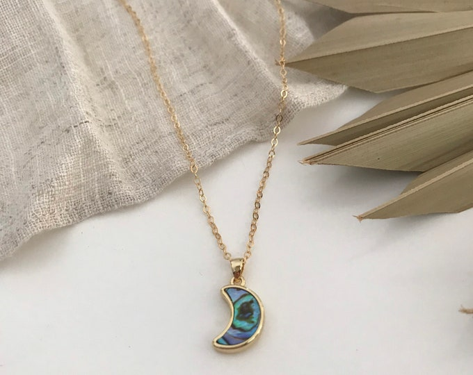 New! // Mini Abalone Moon Necklace