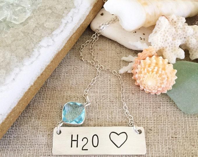 H20 Heart Silver Stamped Bar Necklace Nameplate Custom Bridesmaids Mermaid Beach Wedding Beachglass Island Outer Banks Friend Gift Boho