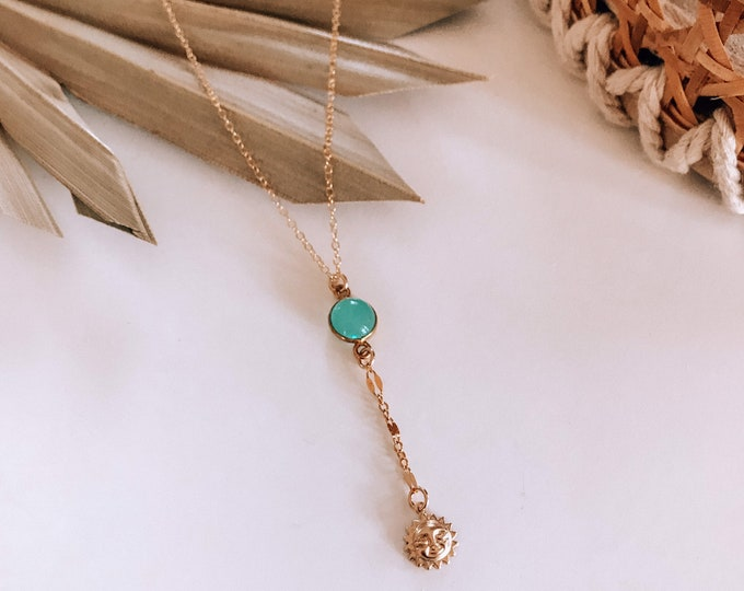 New! // Sun & Faceted Glass Lariat Necklace