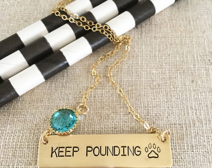 KEEP Pounding Stamped Gold Fill Bar Necklace Carolina Panthers Football Super Bowl North Carolina Custom Personalized