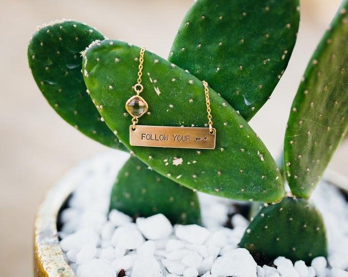 Follow Your Arrow Gold Fill Bar Necklace