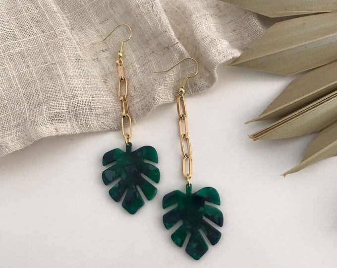 New! // Mini Monstera Acrylic Earrings