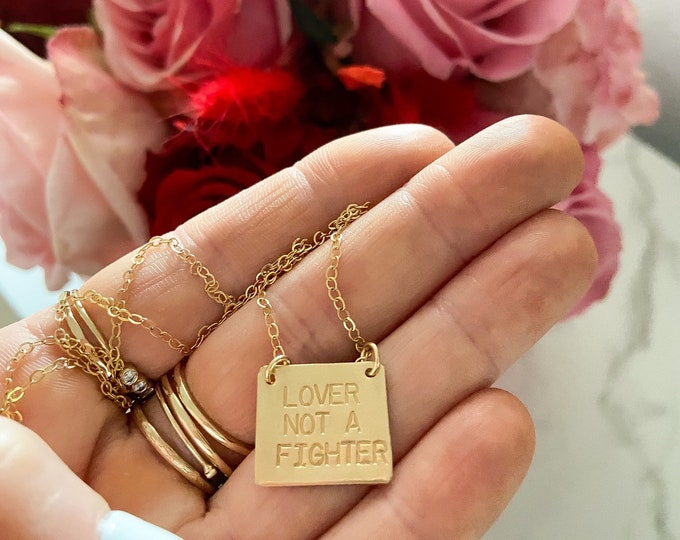 New! // Lover Not a Fighter Bar Necklace Sterling Silver 14kt Gold Filled