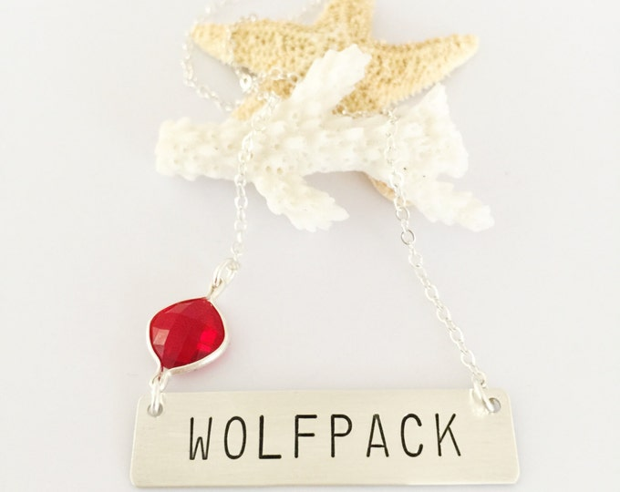 Wolfpack Sterling Silver Stamped Bar Nameplate Layering Necklace NC State Raleigh RDU North Carolina