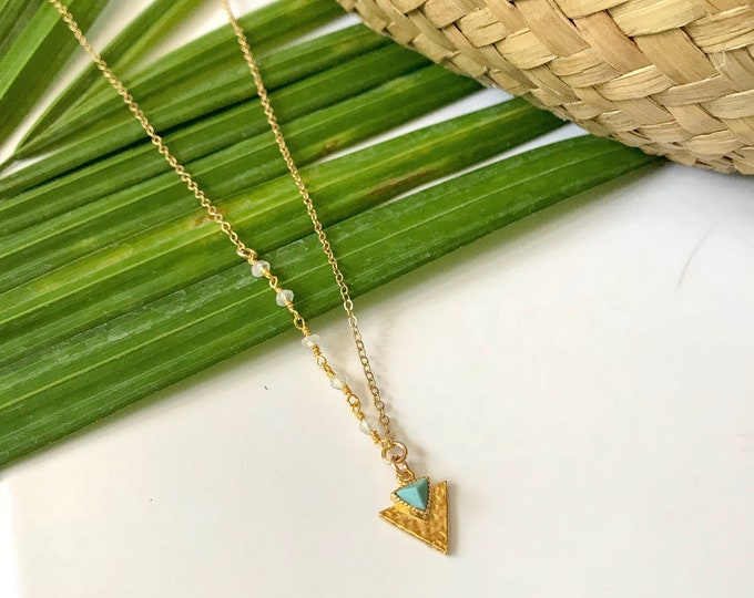 Turquoise & Moonstone Beaded Asymmetrical Triangle Necklace