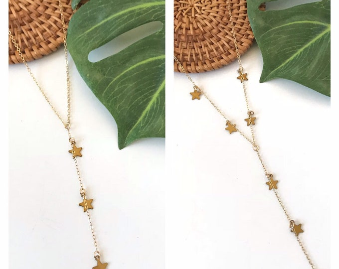 New! // Gold Multi Star Lariat