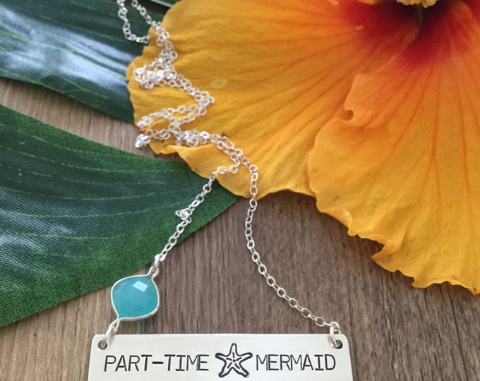 Part Time Mermaid Stamped Bar Necklace Sterling Silver