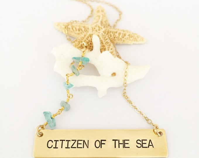 Citizen of The Sea Stamped Gold Fill Beaded Bar Necklace Sea Ocean Layering Salty Beach Boho Outer Banks Mermaid Customizable