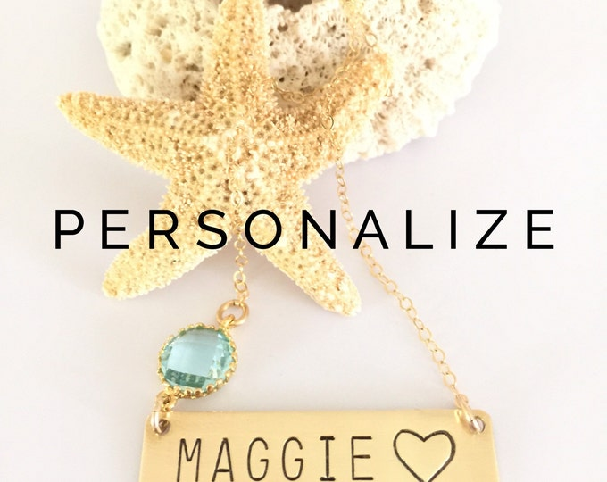 ONE WORD Heart Personalized Stamped Name Bar Necklace Nameplate Customizable Gift Layering Heart Friend Gift Mothers Day New Mom Present