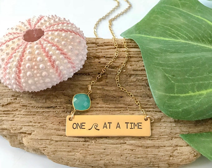 New! // One Wave At A Time Stamped Gold Fill Bar Necklace Nautical Nameplate Beach Ocean