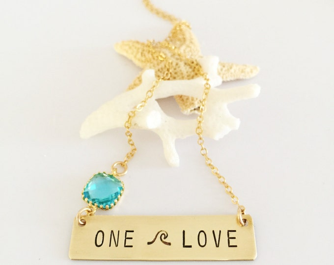 ONE Love Stamped Gold Fill Bar Necklace Wave Beach Sea Ocean Mermaid Gift Love Gold Layering Custom Personalized
