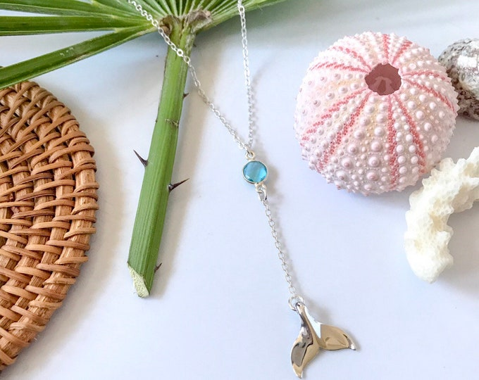 New! // Mermaid Tail & Faceted Glass Lariat Necklace