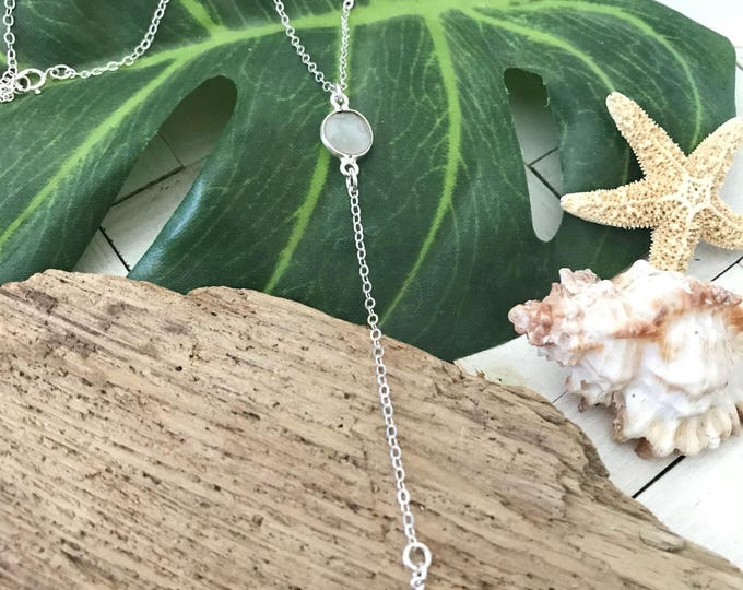 New! // Sterling Silver Moonstone Star Lariat