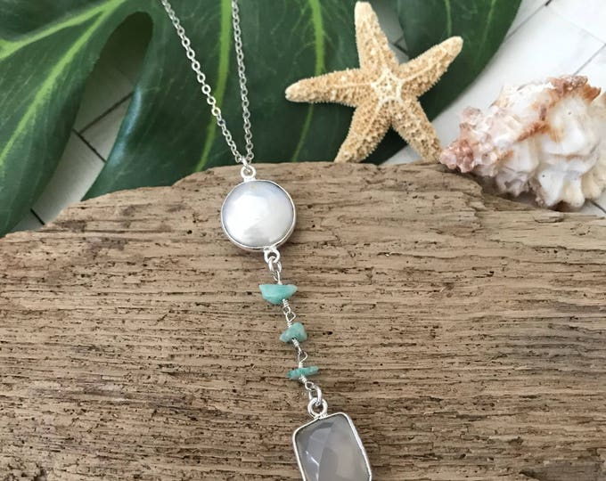 New! // Sterling Silver Pearl Amazonite Lariat