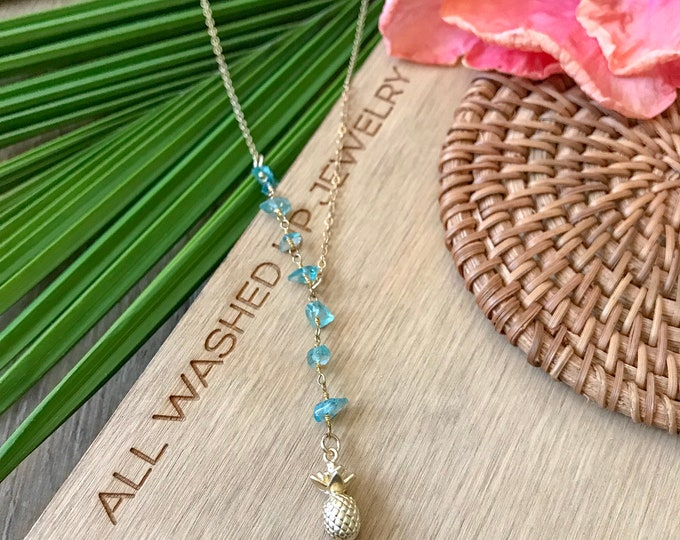 New! // Pineapple Apatite Lariat Necklace
