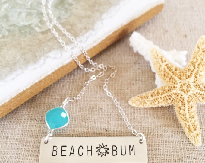 Beach Bum Bar Necklace Nameplate Ocean Customized Bridesmaids Personalized Nautical Anchor Palm Tree Outer Banks OBX Vitamin Sea Salty
