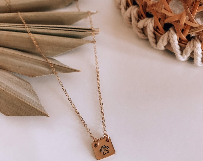 New! // Mini 14kt Gold Filled Paw Print Necklace
