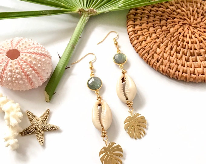 New! // Gold Cowrie Monstera Gemstone Earrings