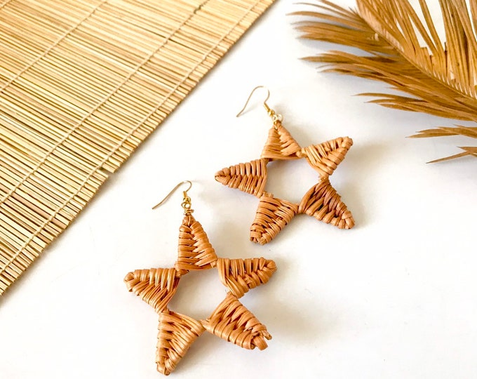 New! // Rattan Star Earrings