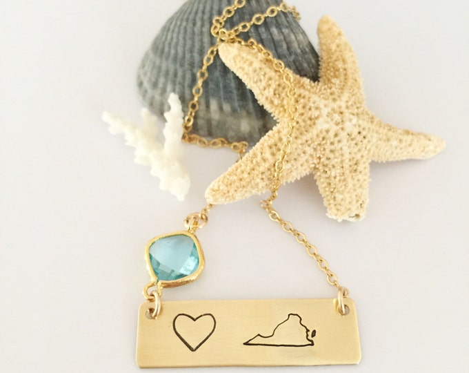 Virginia Heart Love State Bar Necklace Ocean Sunshine Boho Layering VA necklace
