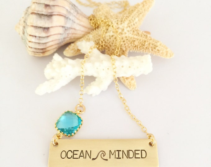 OCEAN Minded Stamped Bar Necklace Name Plate Ocean Beach Wedding Friend Gift Bridesmaids Bridesmaids Gold Fill Gold
