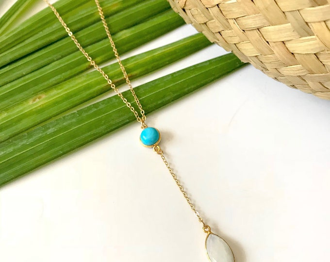 New! // Turquoise Moonstone Lariat Necklace