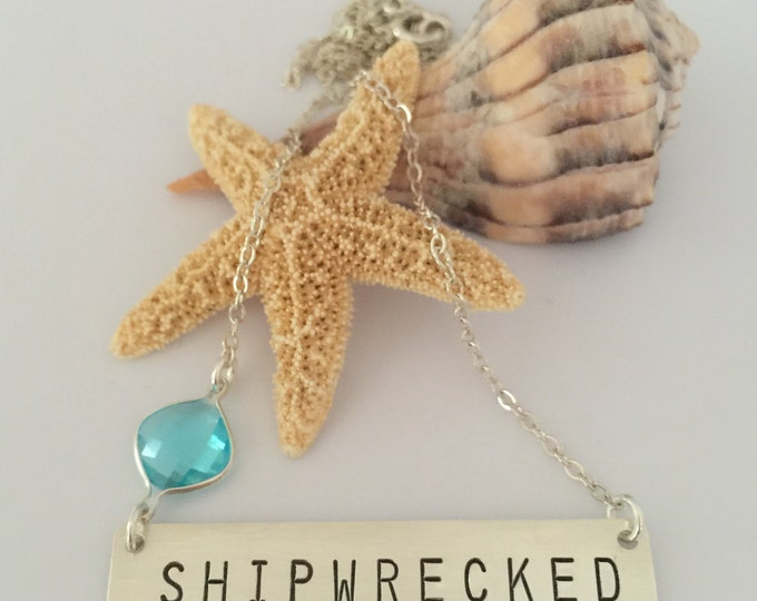 SHIPWRECKED Sterling Silver Stamped Nautical Bohemian Beach Anchor Necklace