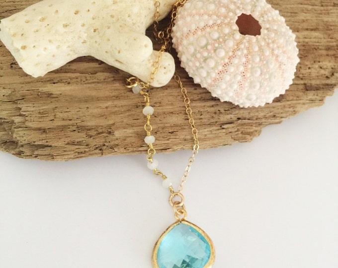 Asymmetrical Beaded Glass Drop Necklace Layering Boho Ocean Sea Beach Mermaid  Beach Wedding Bridesmaids Island Outer Banks