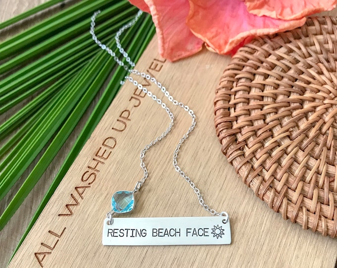 New! // Resting Beach Face Sterling Silver Bar Necklace