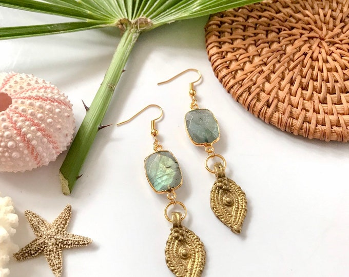New! // Labradorite and Brass Earrings