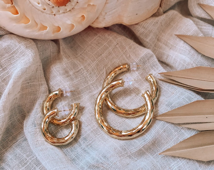 New! // 14kt Gold Filled Chunky Hoop Earrings