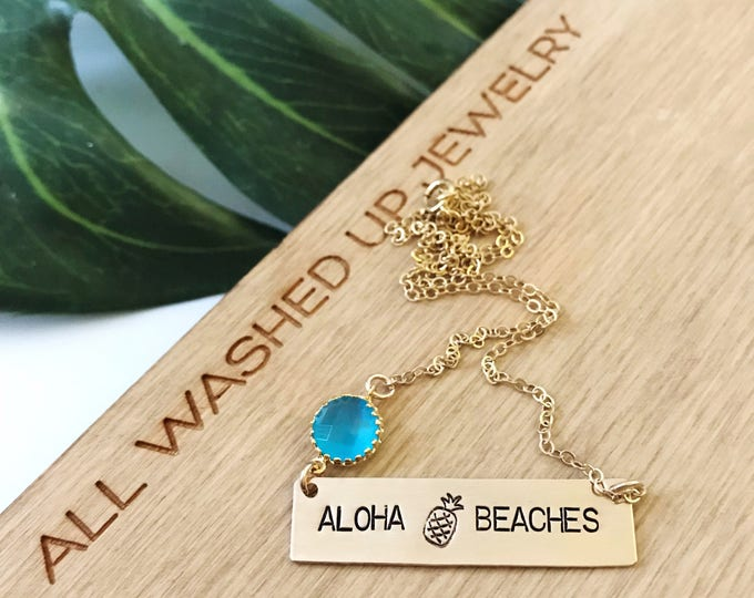 New! // Aloha Beaches Bar Necklace Gold Fill