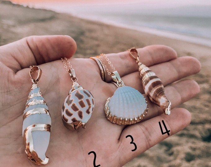 New! // Gold Dipped Shell Necklaces Outer Banks Jewelry