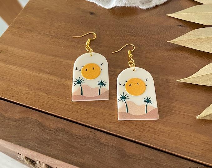 New! // Palm Tree Acrylic Scene Earrings