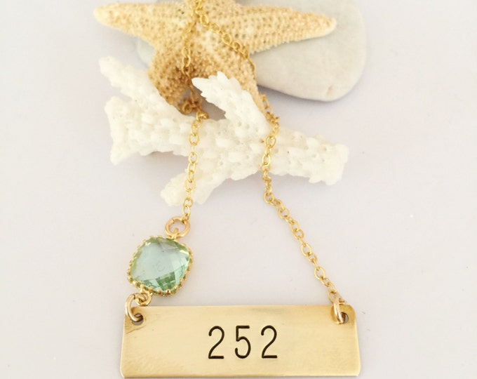 252 Gold Fill Stamped Bar Custom Layering Area Code Necklace Outer Banks North Carolina Personalized Beach Ocean