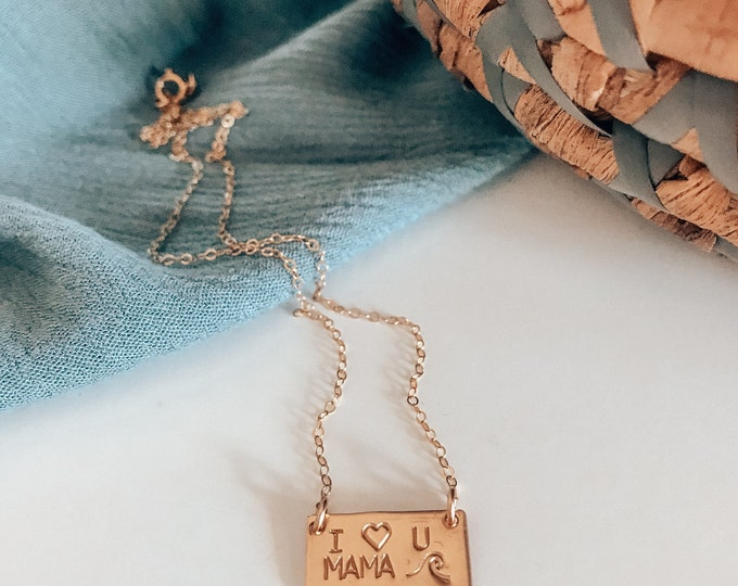 New! Mini 14kt Gold Filled I Love You Mama Necklace