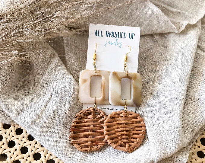 New! // Cream Acrylic and Rattan Woven Earrings