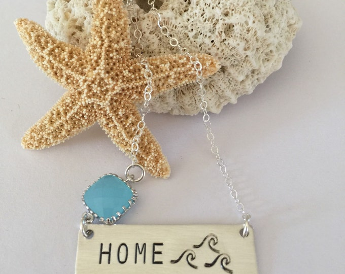 Home Bar Necklace Silver Ocean Waves Mermaid Beach Sea Boho Layering Outer Banks Gypsea Salty Seas The Day stamped