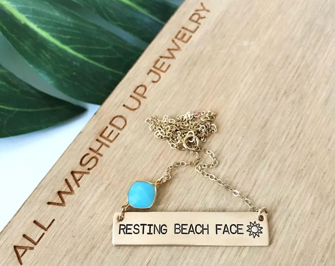 New! // Resting Beach Face Gold Fill Bar Necklace